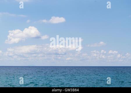 Beautiful blue sky panoramic sea view, calabria italy - Stock Photo
