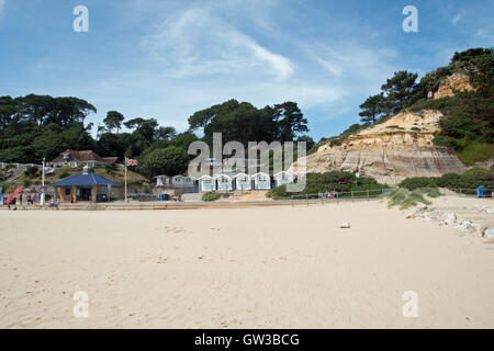 The sandy beach and cliffs at Branksome Chine, Poole in Dorset - Stock Photo