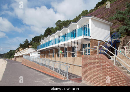 Quality beach huts at Branksome Beach, Poole, Dorset - Stock Photo