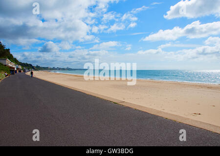 The golden sands of Branksome Chine beach, Poole, Dorset, UK - Stock Photo