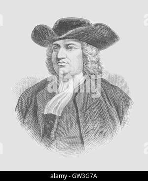 Engraved portrait of William Penn.  William Penn was an English real estate entrepreneur, philosopher, early Quaker - Stock Photo