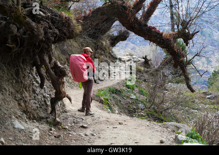 Photo young woman traveler with red backpack hiking in mountains beautiful summer landscape on background. Horizontal. - Stock Photo