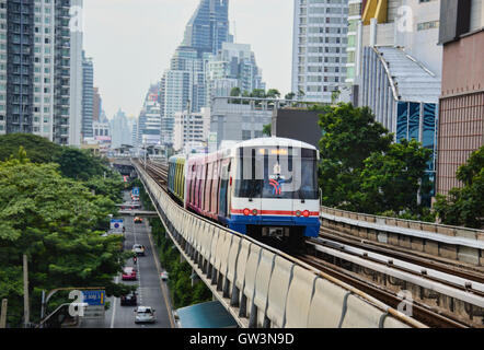 BTS Skytrain in Bangkok Thailand - Stock Photo