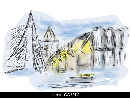 rotterdam. abstract illustration os city on multicolor background - Stock Photo