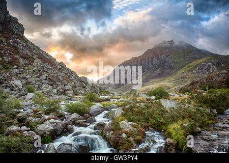 Mountain and fall near LLyn Ogwen lake in Wales - Stock Photo
