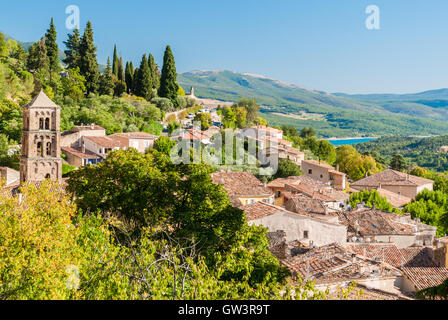 The village of Moustiers-Sainte-Marie in Provence (France) - Stock Photo