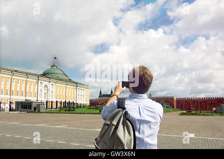 Kremlin palace, Moscow, Russia - July 9, 2016 : A picture of tourists on 9 July 2016 at The Grand Kremlin palace - Stock Photo