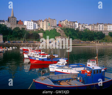 Fishing boats in Tenby harbour, Pembrokeshire, Wales - Stock Photo