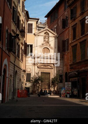 AJAXNETPHOTO. 2015. ROME, ITALY. - A SUNLIT CORNER OF THE HISTORIC LAZIO DISTRICT OF THE CITY HIGHLIGHTING THE CATHOLIC CHURCH OF SANTA BARBARA NEAR VIA DEI GIUBBONARI.   PHOTO:JONATHAN EASTLAND/AJAX  REF:GX151012_668 Stock Photo