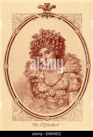 Antique c1890 engraving, Mrs. Fitzherbert. Maria Anne Fitzherbert (1756-1837) was a longtime companion of the future - Stock Photo
