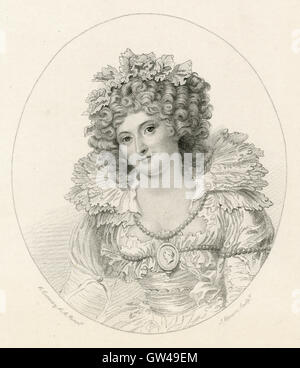 Antique 1893 engraving, Mrs. Fitzherbert. Maria Anne Fitzherbert (1756-1837) was a longtime companion of the future - Stock Photo
