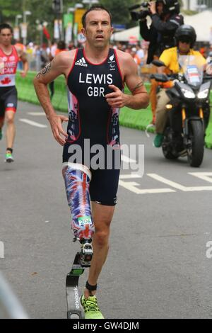 Rio de Janeiro, Brazil, 10th September 2016. Andy Lewis (GBR), winner of the PT2 class in the Rio 2016 Paralympics - Stock Photo
