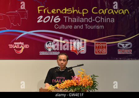 Bangkok, Thailand. 10th Sep, 2016. Chen Jiang, cultural counselor of the Chinese Embassy in Thailand, addresses - Stock Photo