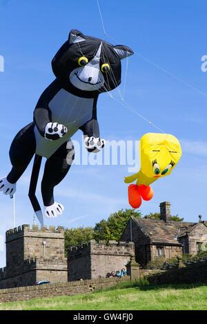 Preston, UK. 11th September, 2016. The Hoghton Tower kite festival takes place over the famous castle turrets as - Stock Photo