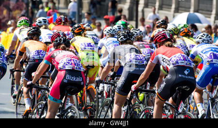Madrid, Spain. 11th September, 2016. Peloton rides during the one-day race of UCI Women's World Tour 'Madrid Challenge' - Stock Photo