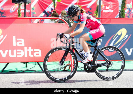 Madrid, Spain. 11th September, 2016. Elisabet Escursel (Bizkai Durango) during the one-day race of UCI Women's World - Stock Photo