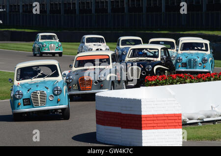 The Goodwood Revival. Austin A35 classic cars racing - Stock Photo