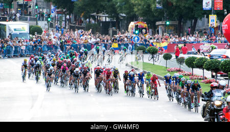 Madrid, Spain. 11th September, 2016. Peloton rides during the 21st stage of cycling race 'La Vuelta a España' (Tour - Stock Photo