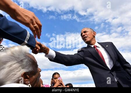 U.S President Barack Obama greets family members of those who died during the attack on the Pentagon following a - Stock Photo