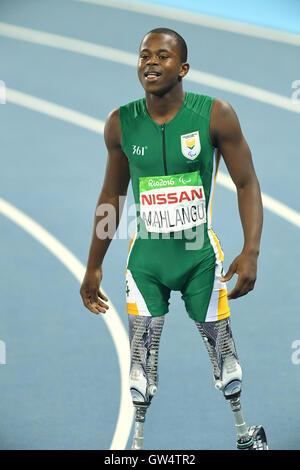 Rio de Janeiro, Brazil. 11th Sep, 2016. Ntando Mahlangu (RSA) Athletics : Men's 200m T42 Final at Olympic Stadium - Stock Photo