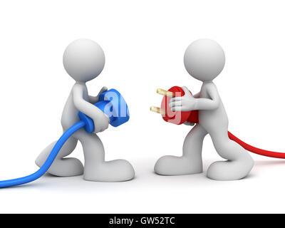 power plug connect concept  3d illustration - Stock Photo