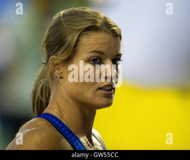 BRUSSELS, BELGIUM - SEPTEMBER 9: Dafne Schippers competing in the women's 100m at the AG Insurance Memorial Van - Stock Photo