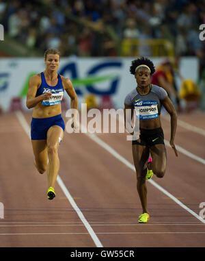 BRUSSELS, BELGIUM - SEPTEMBER 9: Dafne Schippers and  Elaine Thompson competing in the women's 100m at the AG Insurance - Stock Photo