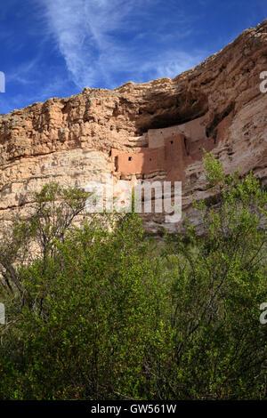 Montezuma Castle National Monument protects near Camp Verde, Arizona - Stock Photo