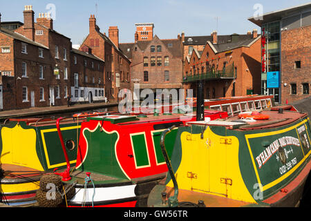 Narrow boats moored in Gas Street Basin Birmingham UK - Stock Photo