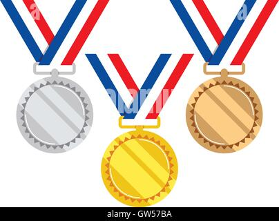 vector set of gold, silver and bronze medals - Stock Photo