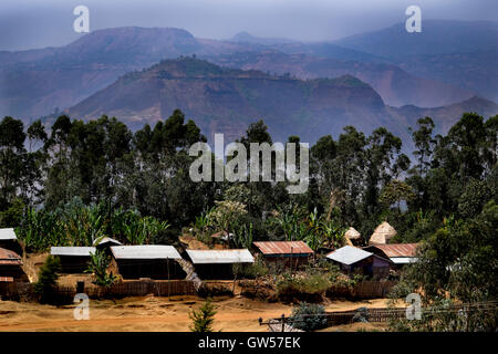 Dorze village on the wall of the Rift Valley in southern Ethiopia - Stock Photo