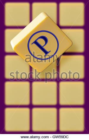 Sound Recording Copyright Symbol On An Alphabet Tile Dorset Stock