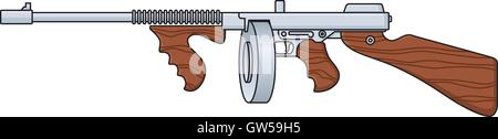 Tommy Gun vector design. Cartoon illustration of vintage Thompson submachine gun like the old time gangsters used. - Stock Photo
