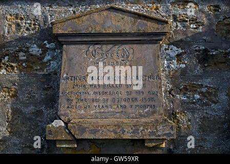 Headstone of a 12 year old boy who was killed in 1865 by the accidental discharge of his own gun, in Elgin Cemetery, - Stock Photo