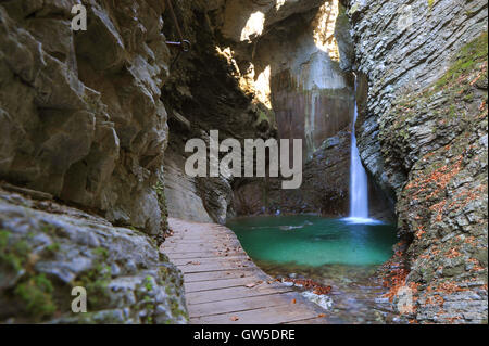 Kozjak waterfall, Kobarid, Slovenia - Stock Photo