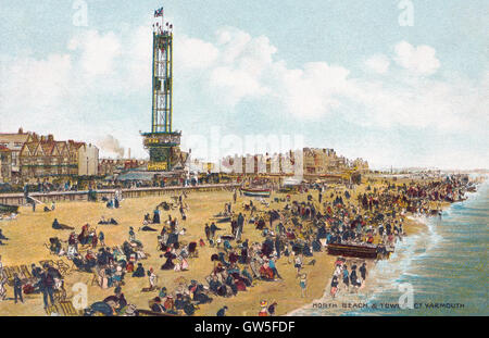 Edwardian postcard of the seaside town of Great Yarmouth, showing the North Beach and Tower. - Stock Photo