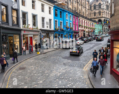 Edinburgh West Bow and Victoria Street with colorful shops in the Old Town. - Stock Photo
