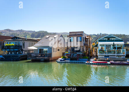 Sausalito, USA - September 23, 2015: The colorfully painted House Boats in the outskirts of the country - Stock Photo