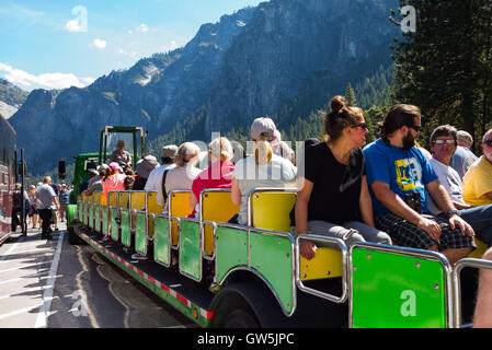 Yosemite Park, USA - September 25, 2015: Tourist ready for a guided tour in the park - Stock Photo