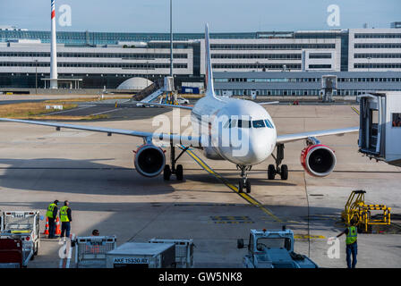 Paris, France, Jet, Czech airlines Plane on Runway Tarmac, at Airport Roissy, Charles de Gaulle - Stock Photo