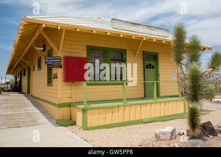 Las Vegas, Nevada - The Boulder City (Nevada) 1931 railroad station at the Clark County Museum. - Stock Photo