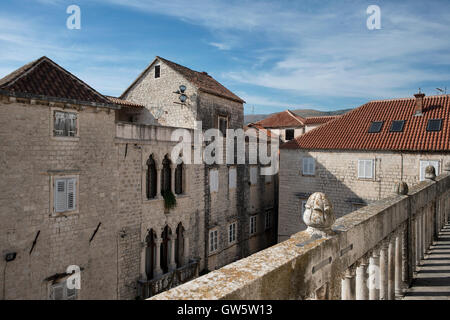 View on the facade of the Grand Cipiko Palace with its decorated Venetian Gothic three-light windows. Trogir, old - Stock Photo