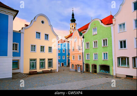 Colorful houses in the downtown of Schardung, an old austrian town near Salzburg, Austria - Stock Photo