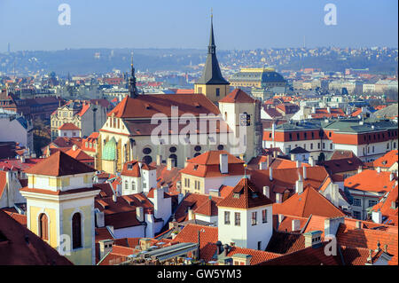 ... View Over Old Town Of Prague With Traditional Medieval Red Roofs,  Prague, Czech Republic