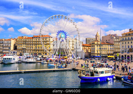 The promenade of the Old Vieux Port in the city center of Marseilles, France - Stock Photo