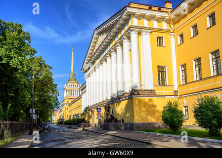 Neoclassical Admiralty Building with white greek columns and golden spire is iconic view in St Petersburg, Russia - Stock Photo