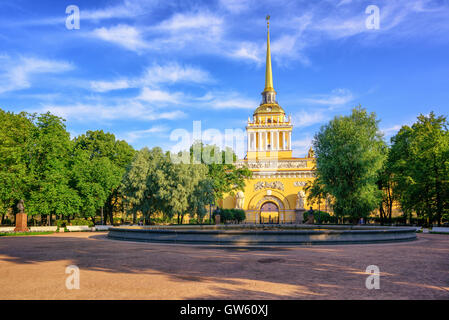 The golden spire of neoclassical Admiralty Building is iconic view in St Petersburg, Russia - Stock Photo