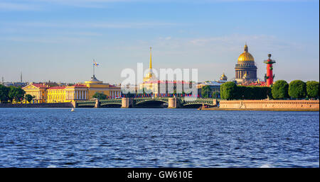 Panorama of St Petersburg, Russia, with Palace bridge over Neva river, golden dome of St Isaac cathedral, Admiralty - Stock Photo