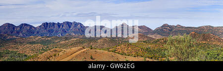 Wilpena Pound rock formation in Flinders ranges national park seen from Razorback lookout. CLose-up wide panorama - Stock Photo