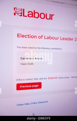 Screen shot of 2016 Labour Party leadership contest ballot Jeremy Corbyn Owen Smith - Stock Photo